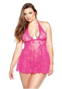 CHEMISE & G-STRING PINK 3XL/4XL