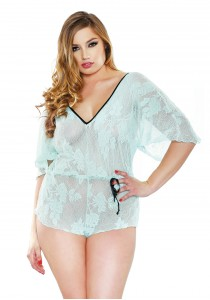 STRETCH LACE ROMPER SEAFOAM XL/XXL