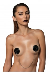 NIPPLE COVERS WITH CHAIN O/S BLACK