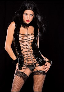 VINYL BUSTIER WITH CUFFS BLACK S/L