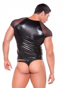 WET LOOK T-SHIRT OS BLACK