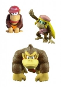 Donkey, Diddy en Dixie Kong mini figuren set