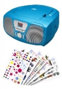 Draagbare radio cd speler blauw + 300 stickers (AUDIO)