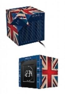 Radio clock projection UK flag (AUDIO)